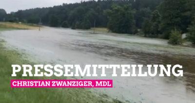 Überschwemmtes Aurachtal im Juli 2021